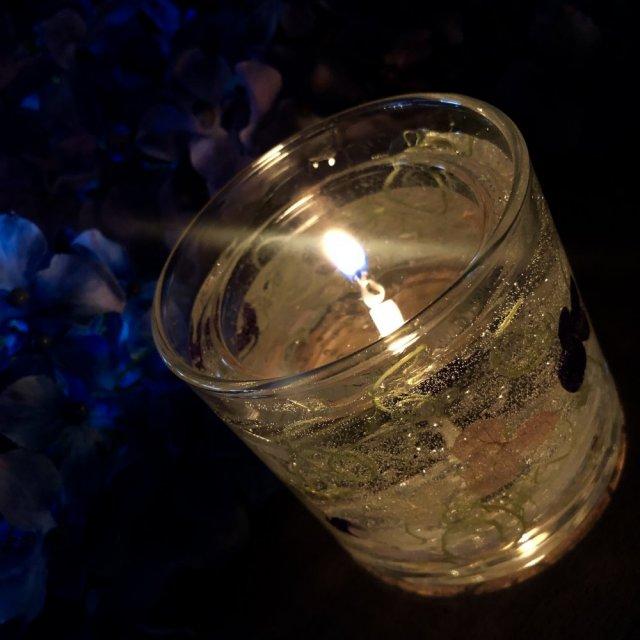 紫陽花キャンドルホルダー作り
